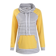 Hoodies Women Autumn Long Sleeve Sweatshirt Women Fashion Stripe Print Pullover Femme Casual Hooded Tops WS3781C