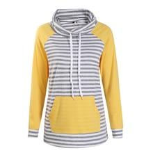 Толстовки Для женщин осень длинный рукав футболка Для женщин мода полосой печати пуловер Femme Повседневное с капюшоном топы WS3781C