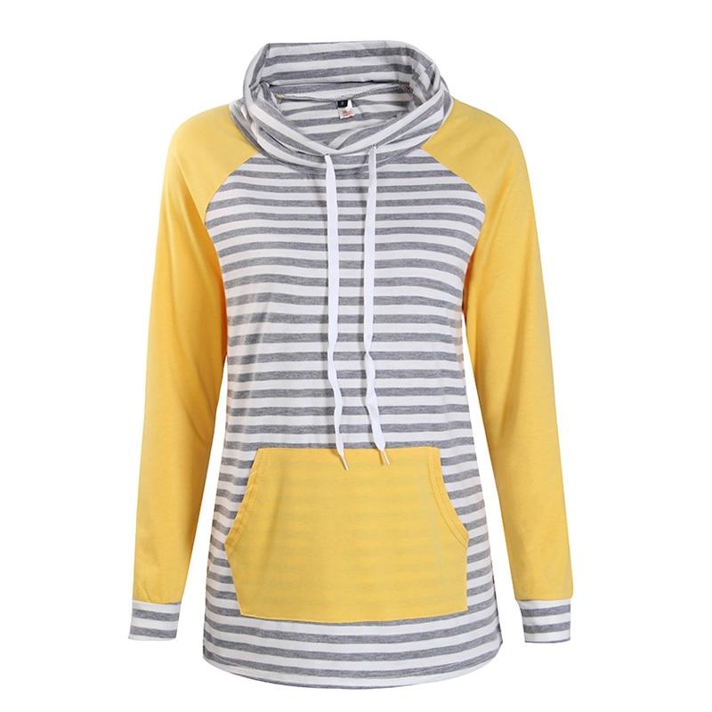 Hoodies Women Autumn Long Sleeve Sweatshirt Women Fashion Stripe Print Pullover Femme Casual Hooded Tops WS3781C