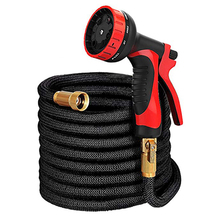 Natural Latex Garden Watering Hose Triple Elongation 25-75FT Telescopic Flexible Magic Hose Car Wash Hose With 9 Mode Water Gun