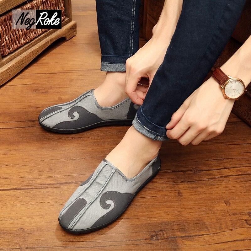 Canves tótem de Estilo chino zapatos de los hombres del bordado ocasional mascul