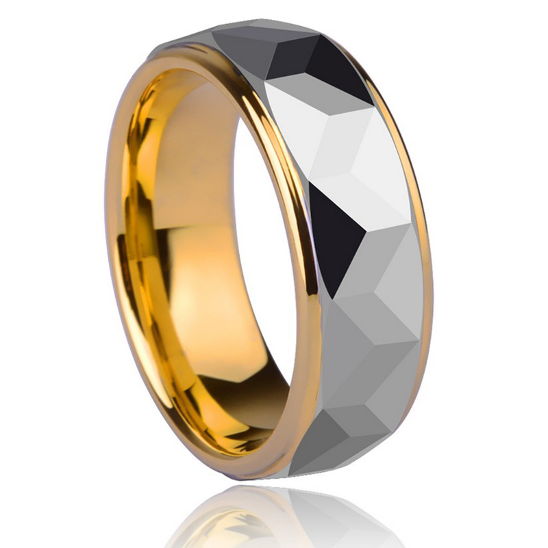 Top Quality Tungsten Ring for Man 8mm Width Gold Plating Shiny Prism Design Man's Jewelry Band 7-13 Free Shipping