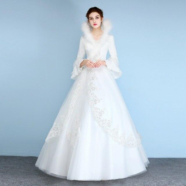 Wedding Dress Vestido De Noiva White Feather Winter Wedding Gowns ...