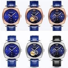 고급 브랜드 39mm parnis 블루 다이얼 사파이어 여성용 날짜 가죽 스트랩 여성용 자동식 무브먼트 남자 시계