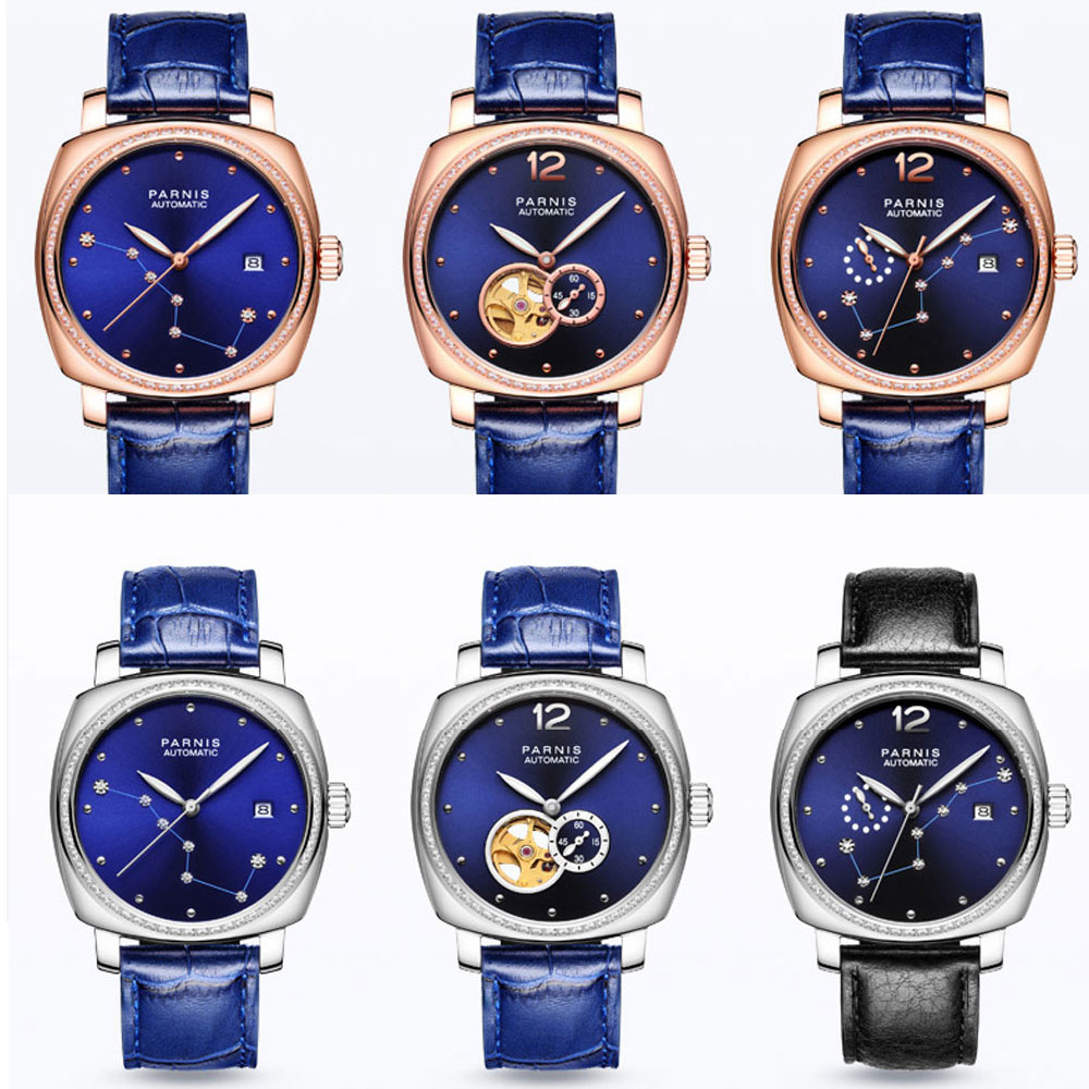 Luxury Brand 39mm Parnis Blue Dial Sapphire Glass ladies Date Leather strap women's Automatic Movement men's Watch-in Mechanical Watches from Watches