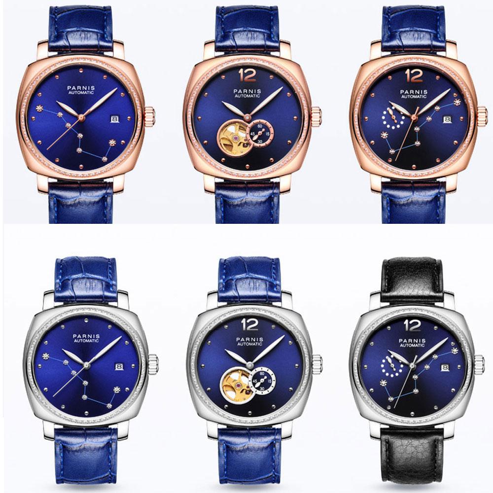лучшая цена Luxury Brand 39mm Parnis Blue Dial Sapphire Glass ladies Date Leather strap women's Miyota Automatic Movement men's Watch