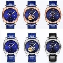 Marque de luxe 39mm Parnis cadran bleu saphir verre dames Date bracelet en cuir femmes mouvement automatique montre pour hommes