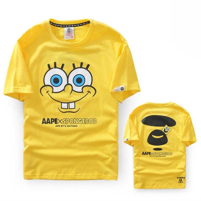afaf04d0bfa7 Bape Men T Shirt 3d Tee Shirt Homme Anime T-shirt Spongebob Aape Joint  Shirts Couple Outfits Unisex Funny Tshirt Fashion School