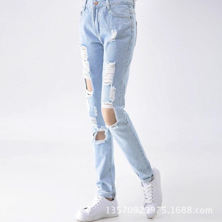34287d50d8 Moda Casual de Mujer de Marca Vintage de Cintura Alta Vaqueros Ajustados  Denim Slim Jeans Rotos Lápiz Agujero Pantalones Mujer Sexy Girls Pantalones  en ...