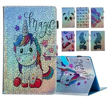 Tablets Bling Unicorn Case For Amazon Kindle All New Fire HD 10 2017 Fashion Flip Stand Cards PU Leather Silicone Fundas Capa