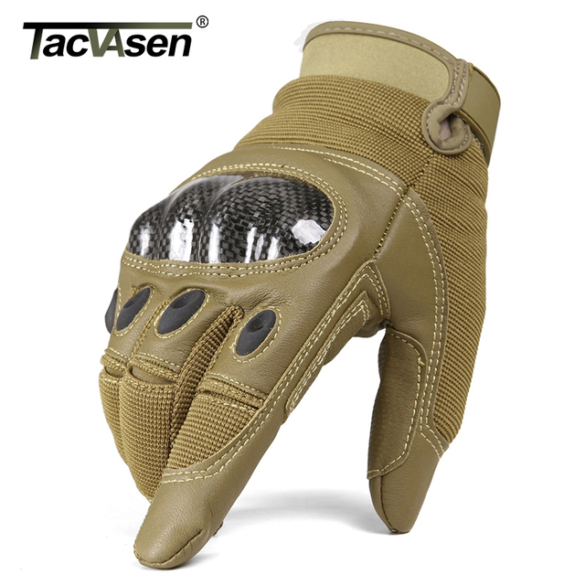 TACVASEN Military Tactical Gloves Men Airsoft Army Combat Gloves Hard Shell Leather Full Finger Shoot Hunt Work Paintball Gloves 4
