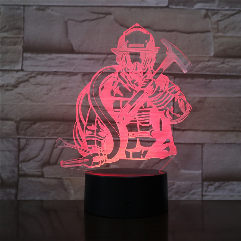 7 color Changing firefighter 3D illusion LED touch Night Light Holiday gift