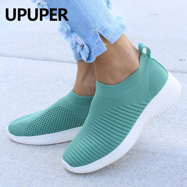 UPUPER Light Sneakers Women Breathable Mesh Vulcanized Shoes Outdoor Flat Slip-On Sock Shoes Women For Walking Plus Size 35-43 1
