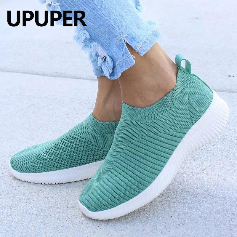 Upuper luz tênis mulher malha respirável sapatos vulcanizados ao ar livre plana deslizamento em meias sapatos femininos para caminhada mais tamanho 35-43