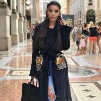 Fashion Black Long Sleeve Women Coats High Quality Velvet Gold Beading Shining Sqeuin Celebrity Evenign Party Coats Wholesale