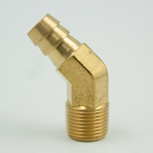 Legines Brass Hose Barb Fitting, 45 Degree Elbow to Male Pipe, 1/4 5/16 3/8 1/2 ID x 1/8 NPT Male, 2 pcs