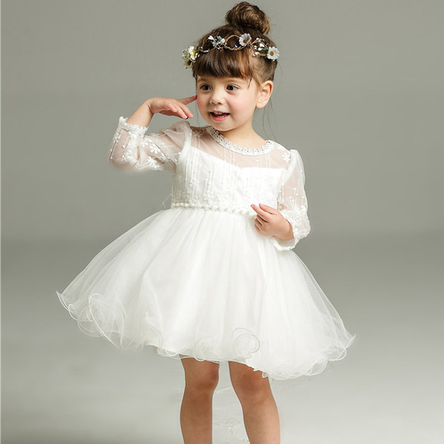 2018 New Baby Dress Formal Birthday Princess Cotton White Baptism