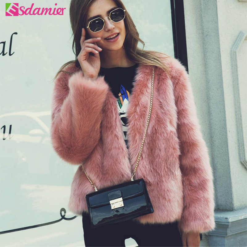 Winter New Thick Warm Faux Fur Coat Pink Luxury Women s Furry Coat White Lady Fake