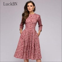 Autumn Women Vintage Print Dress Elegant Party O-neck Fit Flare Midi Fashion 3/4 Sleeve Floral Dresses Female Hot Vestidos