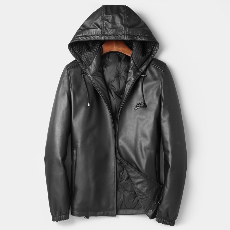 New Winter Leather Jacket Hood Mens Short Guaranteed Genuine Leather Down Jacket Male Aaviator Bomber Jacket Winter Coat Men