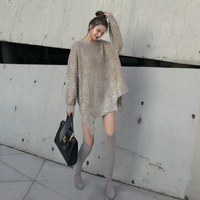 Cakucool 2018 Sweater Women Pull Femme Asymmetric Design Shiny Silver Lurex Christmas Sweater Korean Oversize Mid Long Jumpers