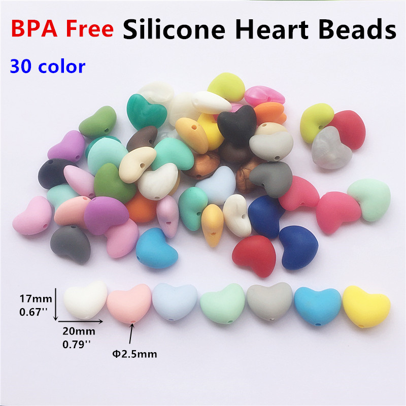 Chenkai 100PCS BPA Free Silicone Heart Teether Beads DIY Baby Pacifier Shower Soother Nursing Necklace Sensory Toy Accessory