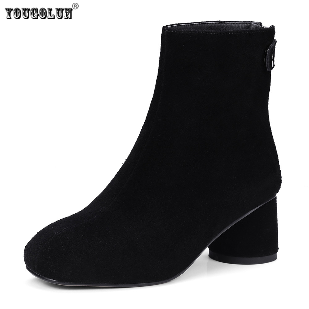 YOUGOLUN Women suede Genuine leather Ankle boots women's Autumn winter boots 2018 Woman round toe nubuck thick high heels shoes yougolun women ankle boots 2018 autumn winter genuine leather thick heel 7 5 cm high heels black yellow round toe shoes y 233