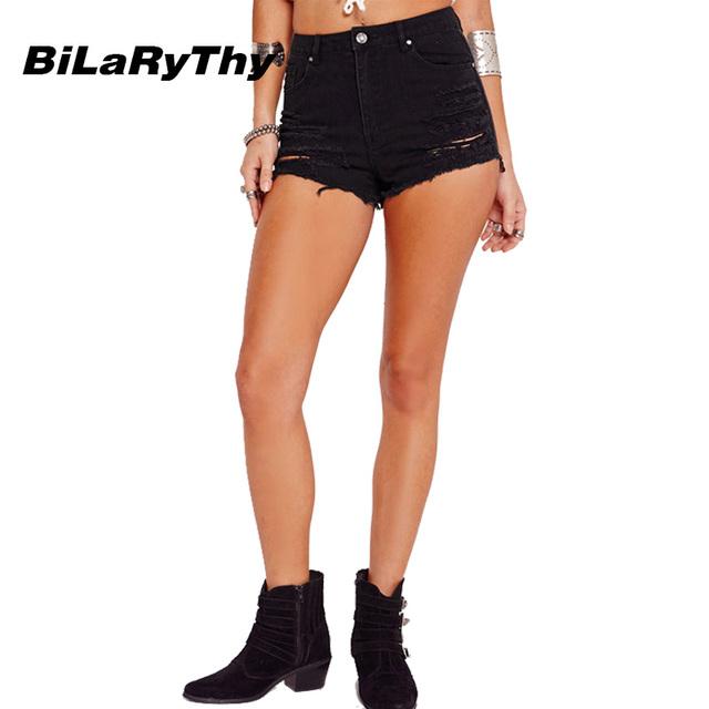 BiLaRyThy Novas Mulheres Da Moda Verão Short Jeans de Cintura Alta Sexy Ripped Holes Femme Magro Ocasional Shorts Jeans Preto