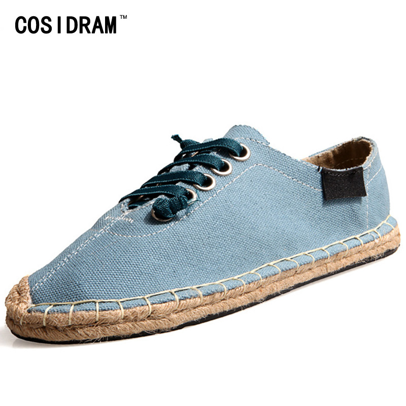 COSIDRAM Plus Size 45 Espadrille Men Casual Shoes Breathable AAA Flat Heels Men Shoes Summer Soft