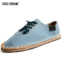 COSIDRAM Plus Size 45 Espadrille Men Casual Shoes Breathable AAA Flat Heels Men Shoes Summer Soft Bottom Hemp Shoes RMC-873