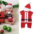 2 Pcs Bebê Recém-nascido Meninas Infantis Menino de Santa Roupas Bebês Meninos Jumpsuit Romper + Chapéu de Natal Conjunto de Roupas Da Menina Do Natal