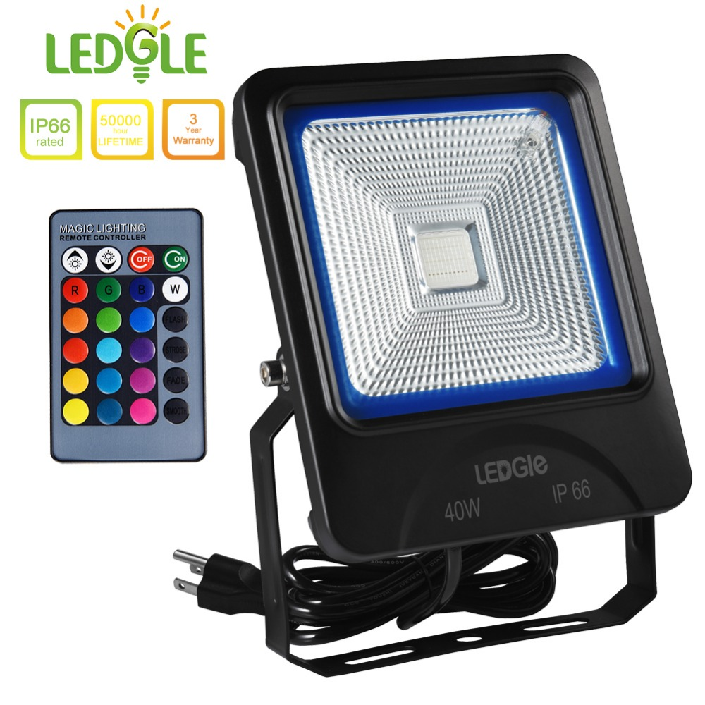 LEDGLE 40W LED Flood Light RGB Floodlights Waterproof Outdoor Lights with Remote Control COB US Plug 16 Colors 4 Lighting Modes