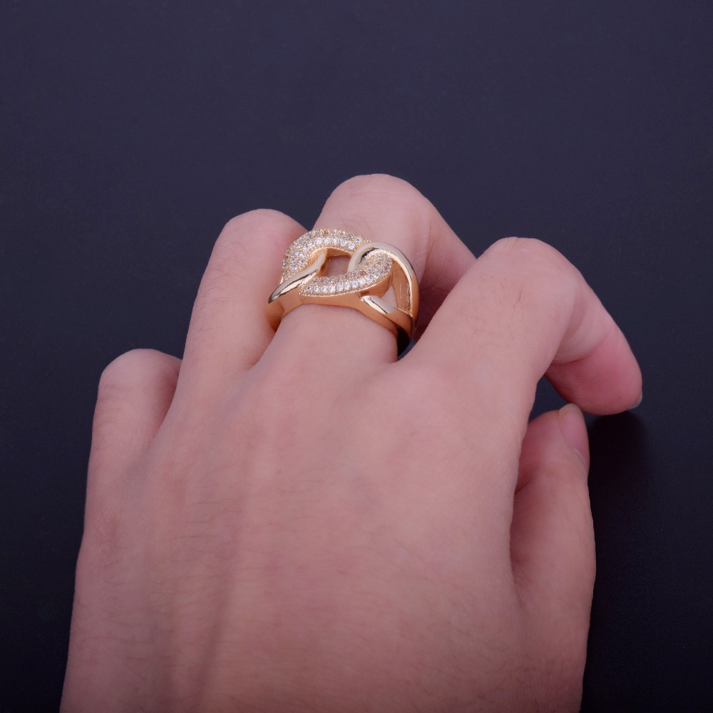 Bling Cuban Shape Zircon Copper Material Gold Ring size 6 9-in Rings ...