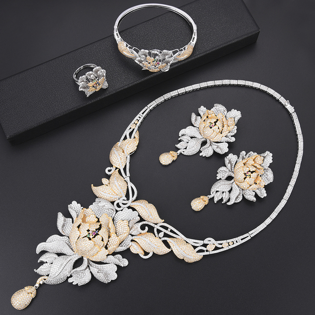 4 PCS Luxury Chrysanthemum Cubic Zirconia Nigerian dubai wedding jewelry sets Necklace Earrings Bracelet Ring jewelry For Women