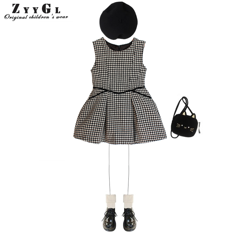 ZYYGL European and American Style children dress girls clothing houndstooth high waists Princess dress for children kids clothes 100% real photo brand kids red heart sleeve dress american and european style hollow girls clothes baby girl clothes