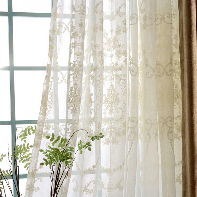 Europe Luxury White Cotton Linen Curtains Fabric Tulle For Bedroom Embroidered Sheer Window Curtains For Living Room Kitchen A78