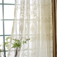 Europe Luxury White Cotton Linen Curtains Fabric Tulle For Bedroom Embroidered Sheer Window Curtains for Living Room kitchen A78 Curtains     -