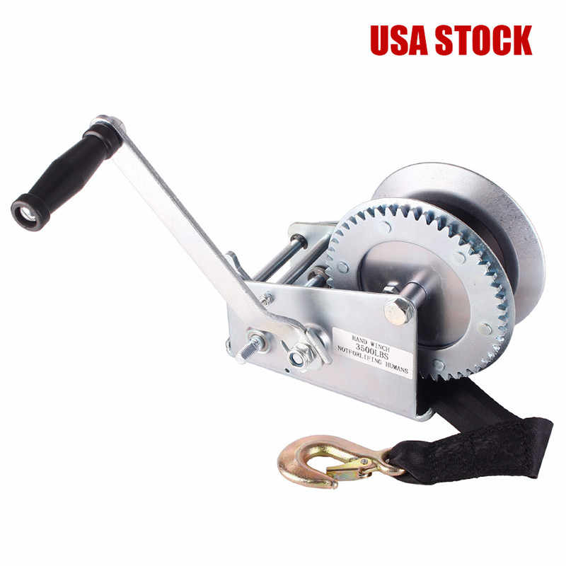 3500 lbs 6mm*10m Hardened Steel Gears Safety Hand Winch