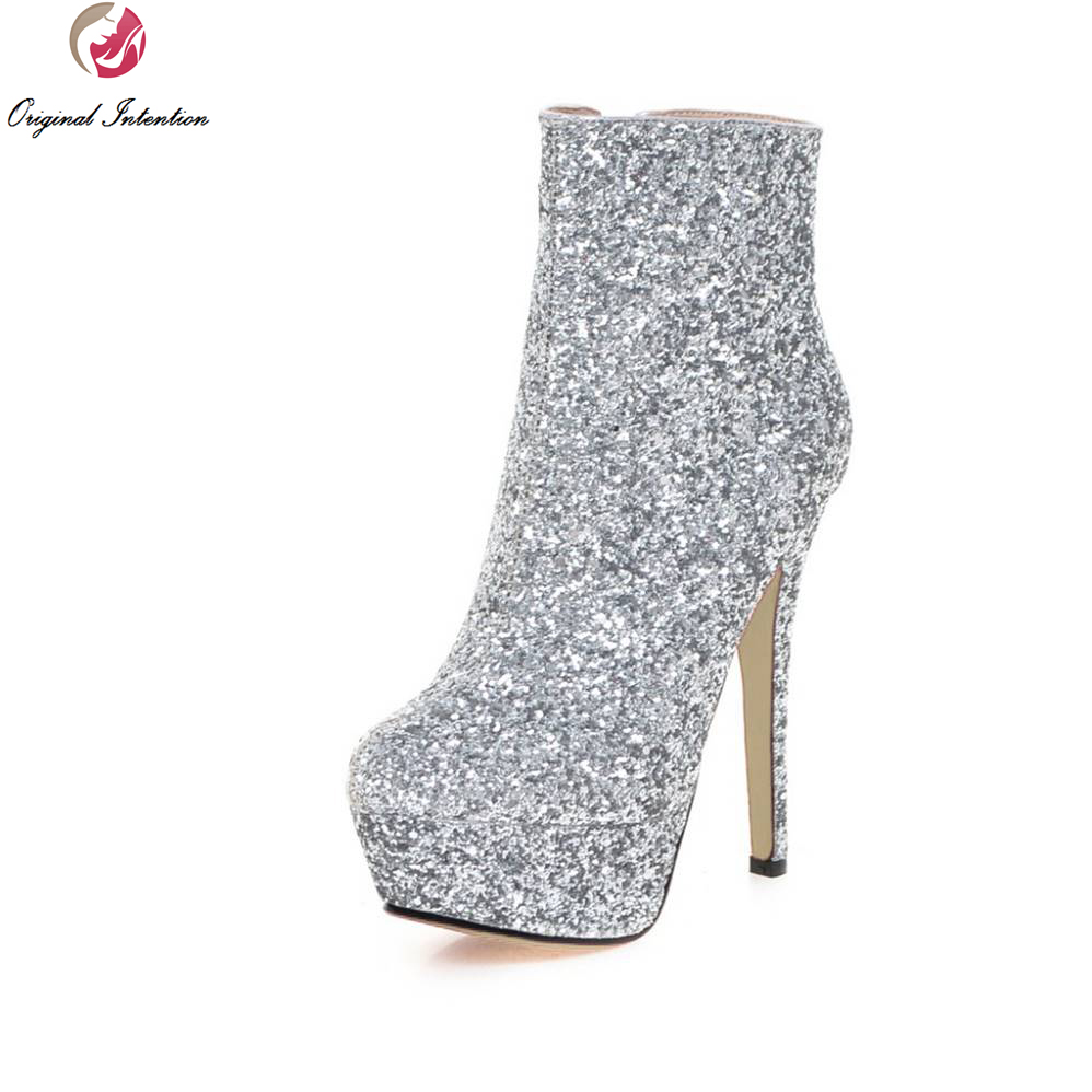 Original Intention Women Ankle Boots Stylish Platform Round Toe Thin Heels Boots Black White Gold Silver Pink Red Shoes Woman hot sale new arrival black red sheepskin zip sweet women boots round toe thin heels ankle shoes woman m 42