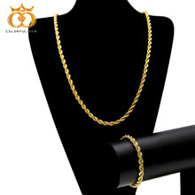 2pcs/set Rope Chain Necklace Bracelet 6mm 30inch Gold Silver Color High Quality Hip hop Fashion Jewelry Set For Men/Women