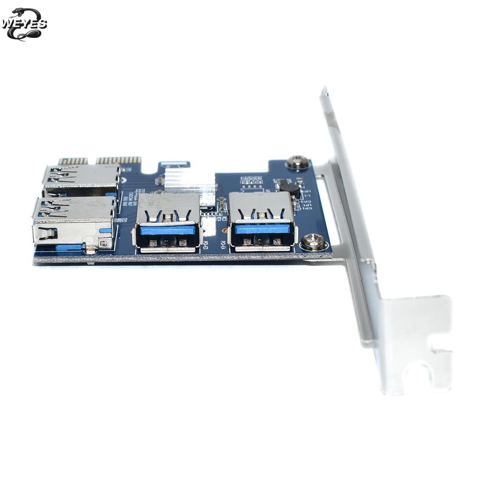 PCIE PCI-E PCI Express Riser Card 1x à 16x1 à 4 USB 3.0 Fente Multiplicateur Hub Adaptateur Pour Bitcoin Mining Mineur BTC Dispositifs