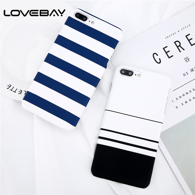 Lovebay Phone Case For iPhone 8 7 6 6s Plus 5 5s Fashion Black and White Stripes Hard Plastic Protect Cover Cases For iPhone 8