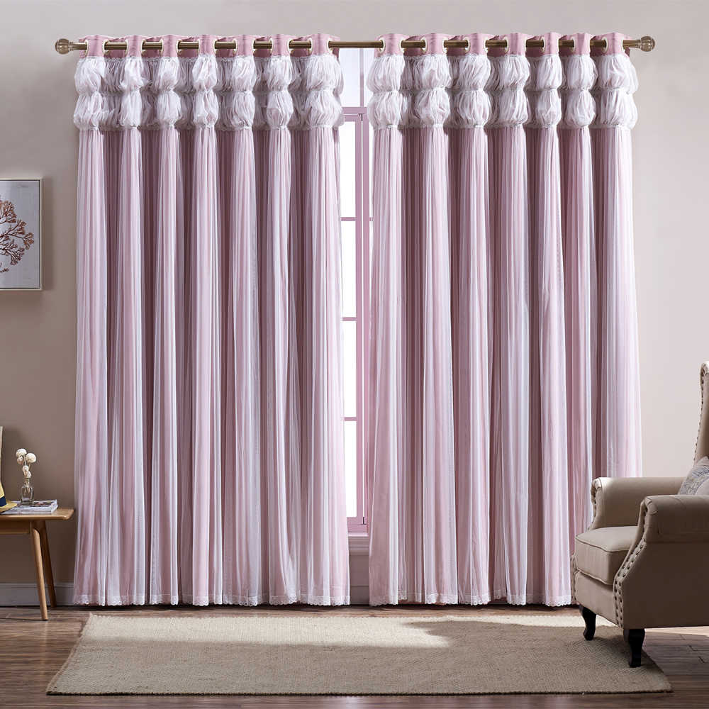 GIZA Tassels Lanterns Head Thermal Curtain Pink Color Cloth Curtain+Voile Sheer Black Out Fabric Bedroom Custom Living Window