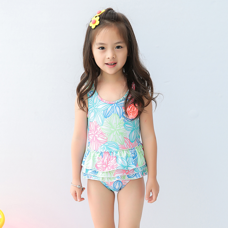 Cute Girl's One Piece Swimsuit Dress Floral Printed bathing wear kids baby infant bathing suit 1-8 Years