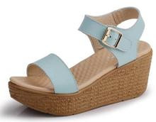 2016 Summer new Gladiator style women sandals buckle strap platform candy colors leisure sandals women's casual leather wedges