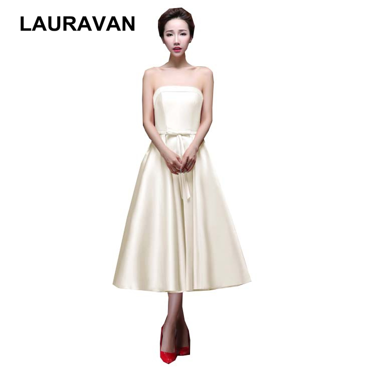 plus size ladies tea length formal occasion ivory party pageant   dresses   for women royal blue   bridesmaid     dress   free shipping