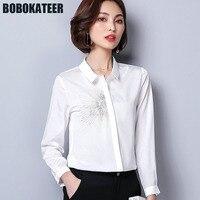 BOBOKATEER Office Women Chiffon Shirt White Blouse Women Top Embroidery Long Sleeve Formal Blouses Ladies Tops