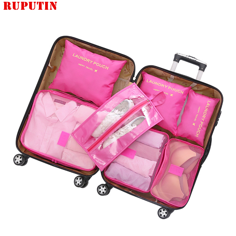 New Seven-piece Set Travel Accessories Bag Luggage Storage Clothing Shoes Underwear Packing Club Organizer Cosmetic Sorting Bag