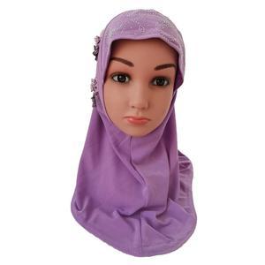 Image 5 - One Piece Amira Hijab Muslim Kids Girls Hijabs Flower Head Scarf Shawl Wrap Islamic Hat Prayer Headscarf Arab Headwear Cap Hijab