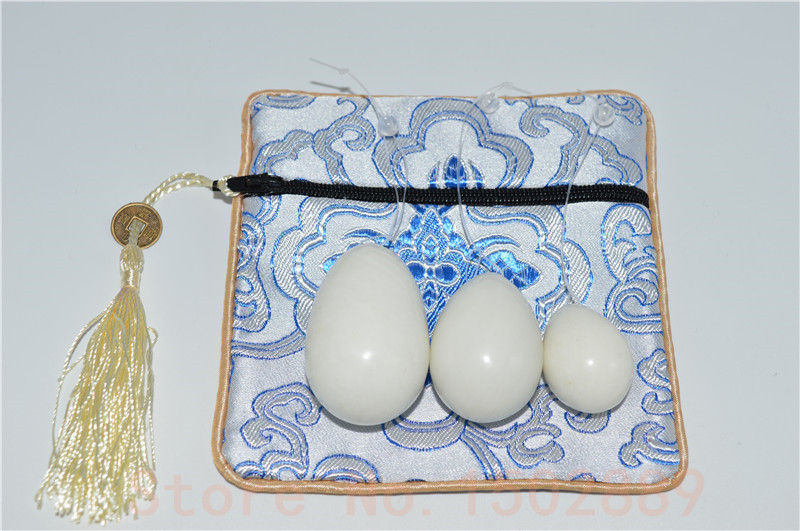 FREE SHIPPING set/3 white colour jade egg for Kegel Exercise Pelvic Muscle Vaginal Tightening Ben Wa yoni egg kegel weight